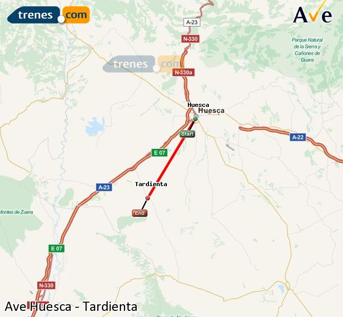 Karte vergrößern AVE Huesca Tardienta