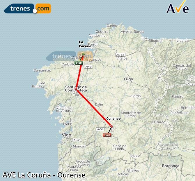 Ampliar mapa AVE La Coruña Ourense