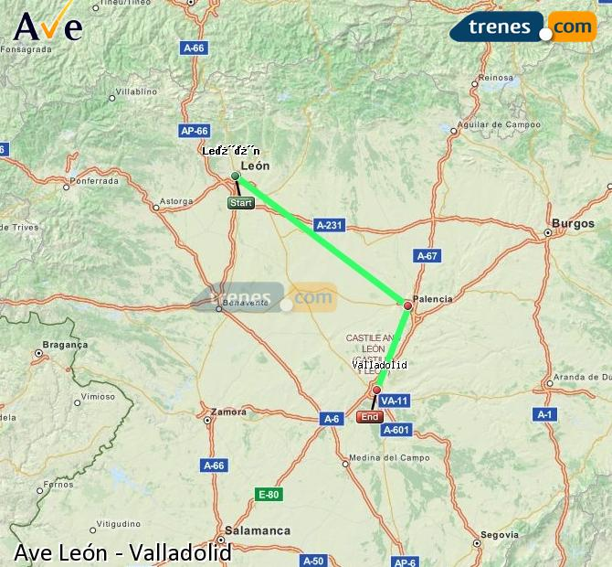 Enlarge map AVE Lion to Valladolid