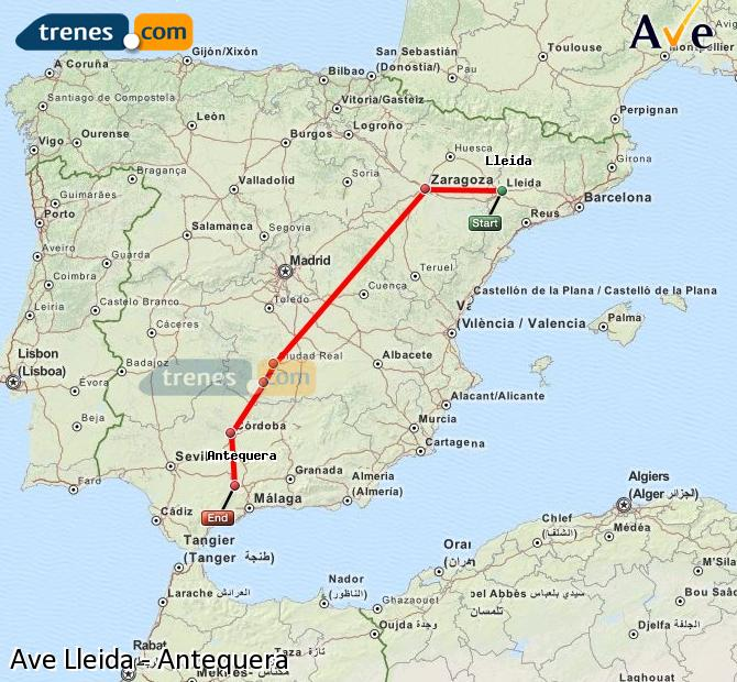 Enlarge map AVE Lleida to Antequera