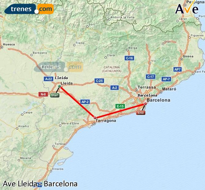Enlarge map AVE Lleida to Barcelona