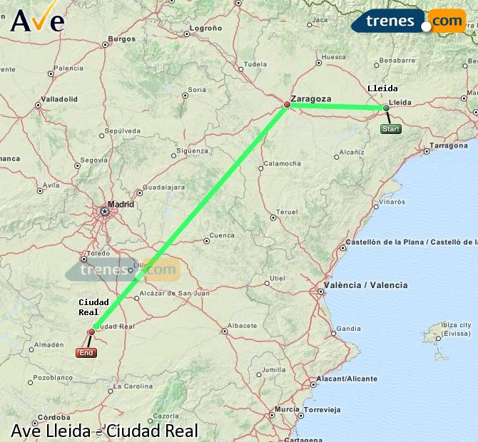 Enlarge map AVE Lleida to Ciudad Real