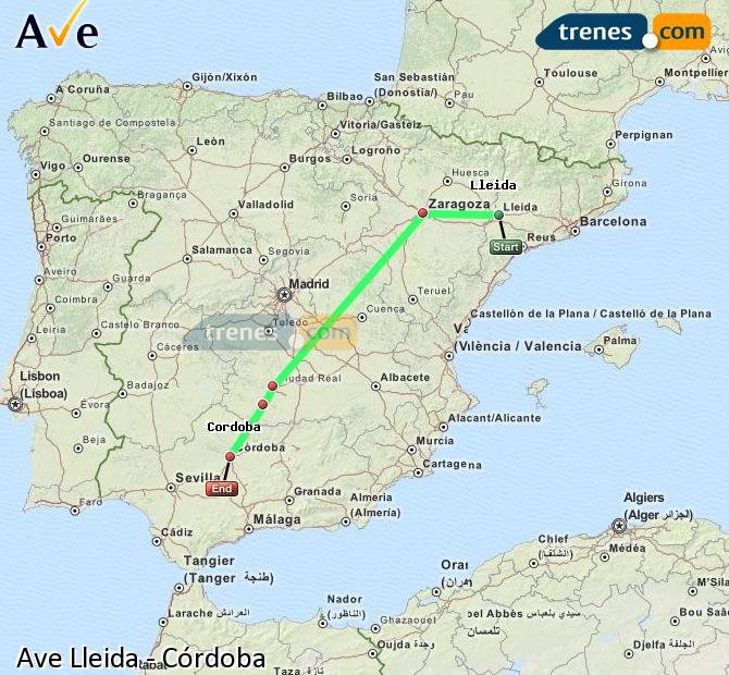 Enlarge map AVE Lleida to Córdoba