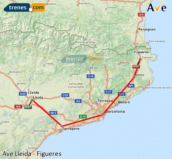 Enlarge map AVE Lleida to Figueres