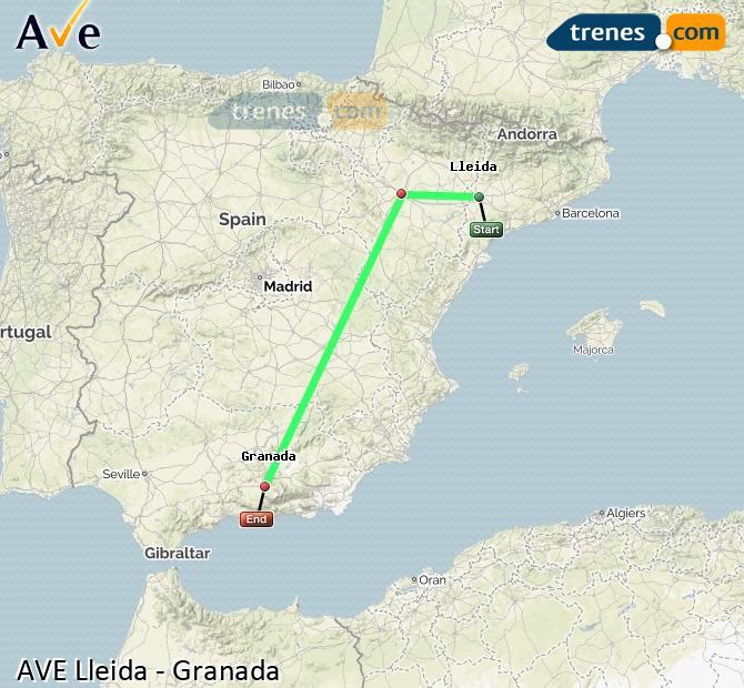 Ampliar mapa AVE Lleida Granada