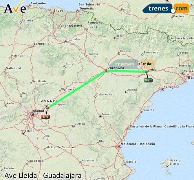 Ingrandisci la mappa AVE Lleida Guadalajara