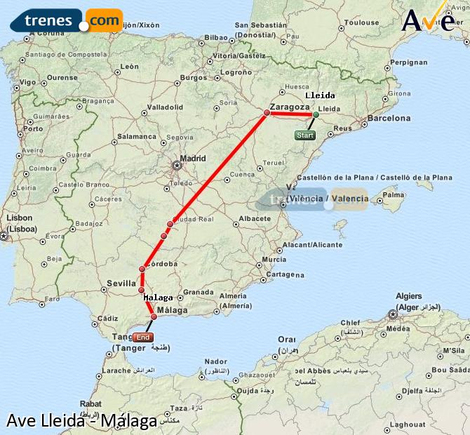 Enlarge map AVE Lleida to Malaga