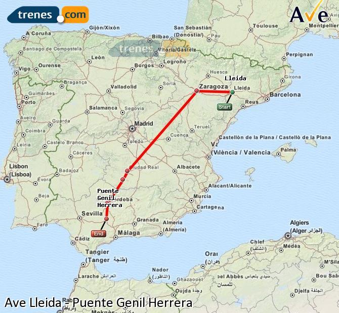 Agrandir la carte AVE Lleida Puente Genil Herrera