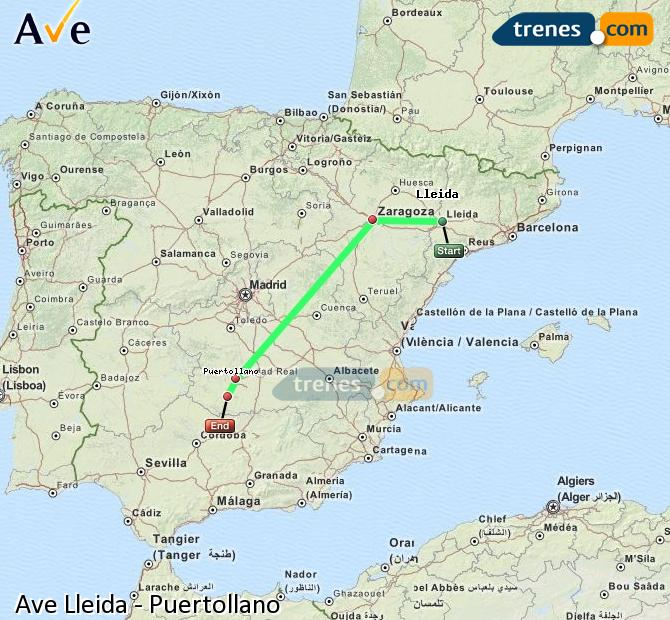 Ampliar mapa AVE Lleida Puertollano