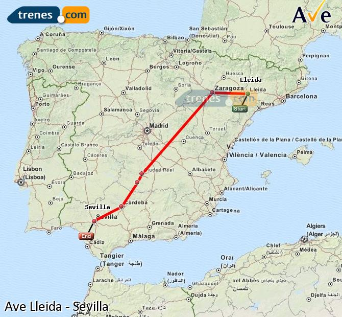 Enlarge map AVE Lleida to Seville