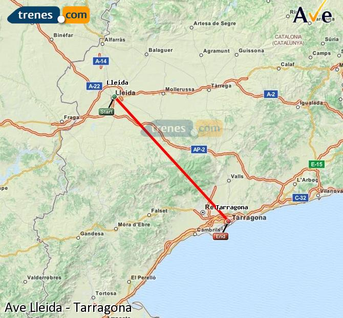 Ampliar mapa AVE Lleida Tarragona