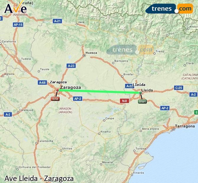 Ampliar mapa AVE Lleida Zaragoza