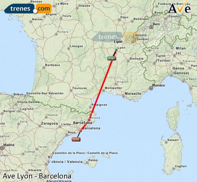 Karte vergrößern AVE Lyon Barcelona