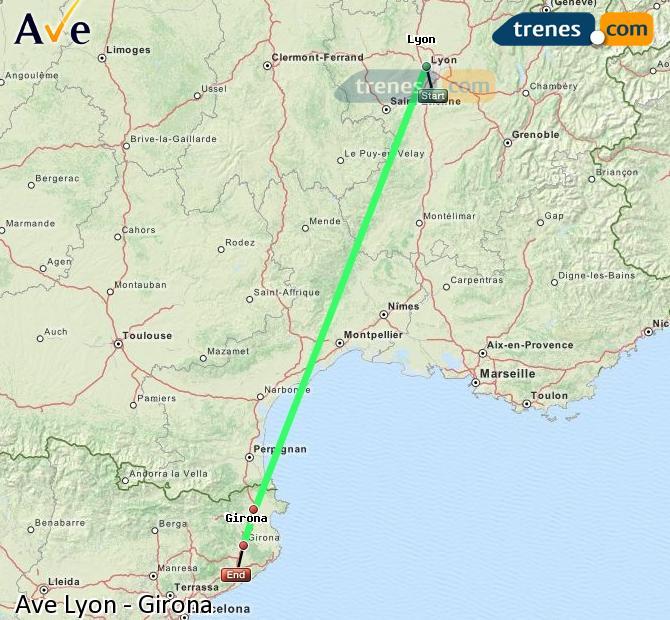 Karte vergrößern AVE Lyon Girona