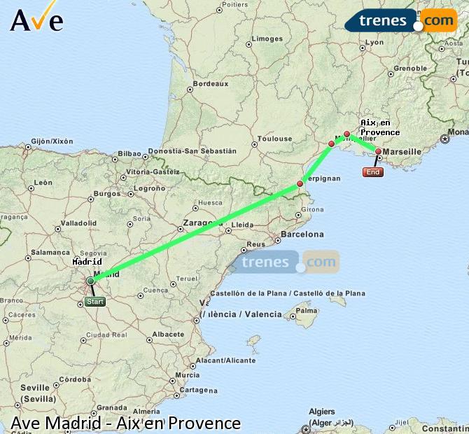 Karte vergrößern AVE Madrid Aix en Provence