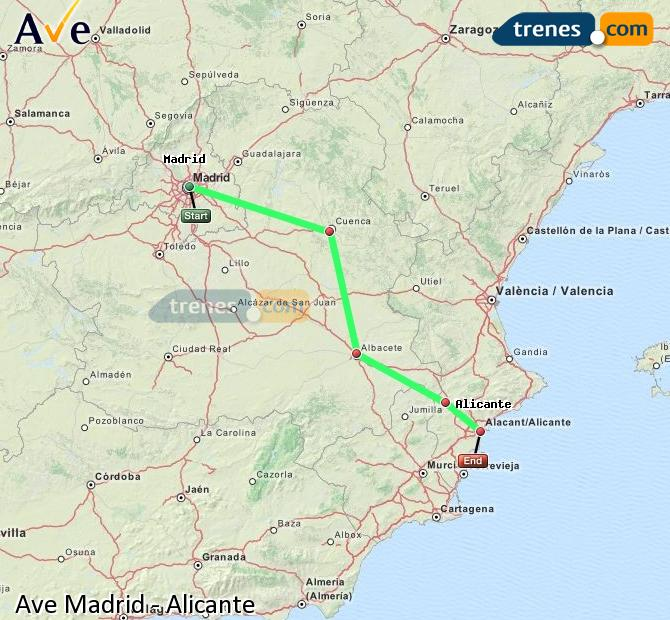 Agrandir la carte AVE Madrid Alicante