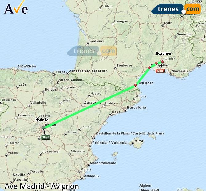 Enlarge map AVE Madrid to Avignon