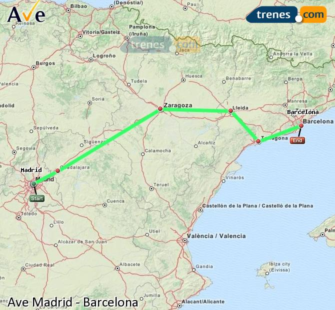 Enlarge map AVE Madrid to Barcelona