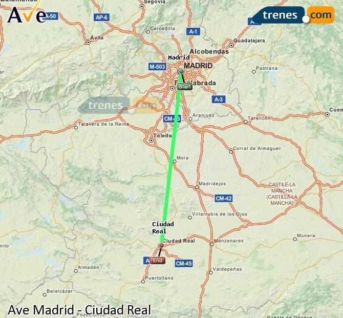 Ampliar mapa AVE Madrid Ciudad Real
