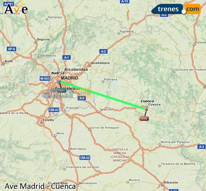 Enlarge map AVE Madrid to Cuenca