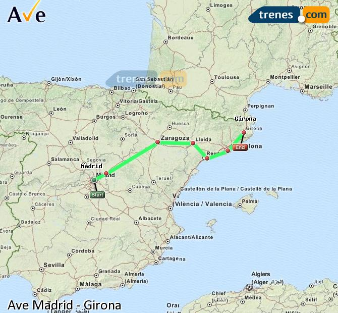 Enlarge map AVE Madrid to Girona
