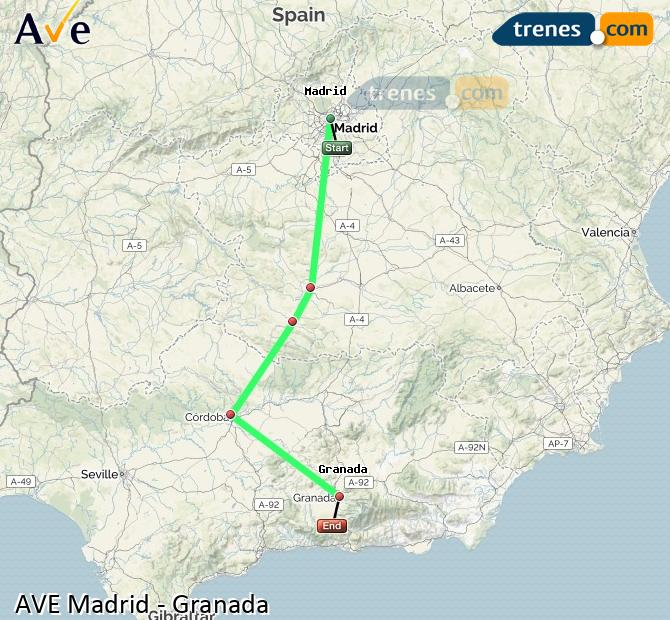 Ampliar mapa AVE Madrid Granada