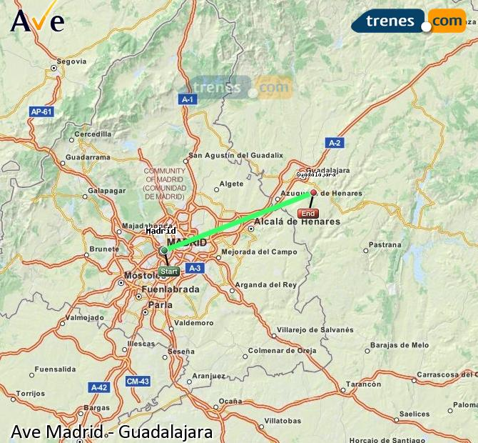 Enlarge map AVE Madrid to Guadalajara