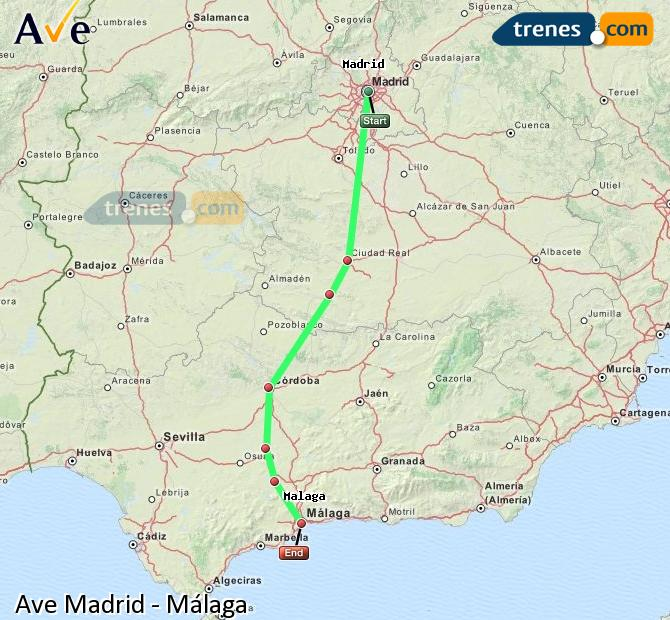 Enlarge map AVE Madrid to Malaga