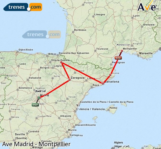 Enlarge map AVE Madrid to Montpellier