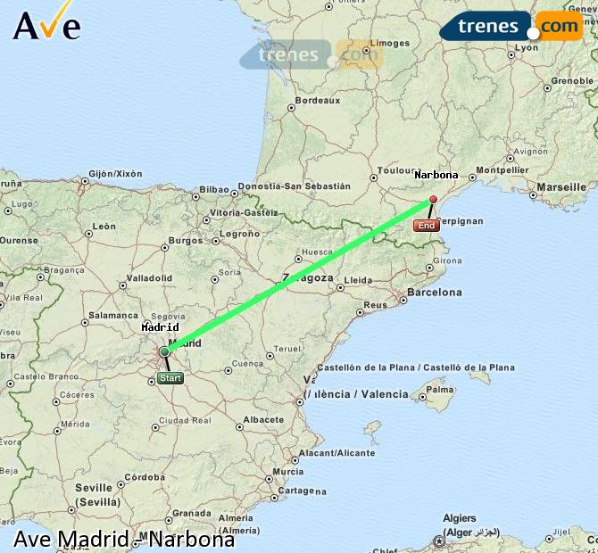 Enlarge map AVE Madrid to Narbonne