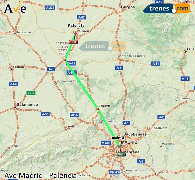 Ingrandisci la mappa AVE Madrid Palencia