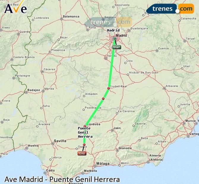 Ampliar mapa AVE Madrid Puente Genil Herrera
