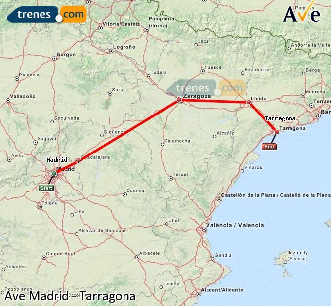Ingrandisci la mappa AVE Madrid Tarragona