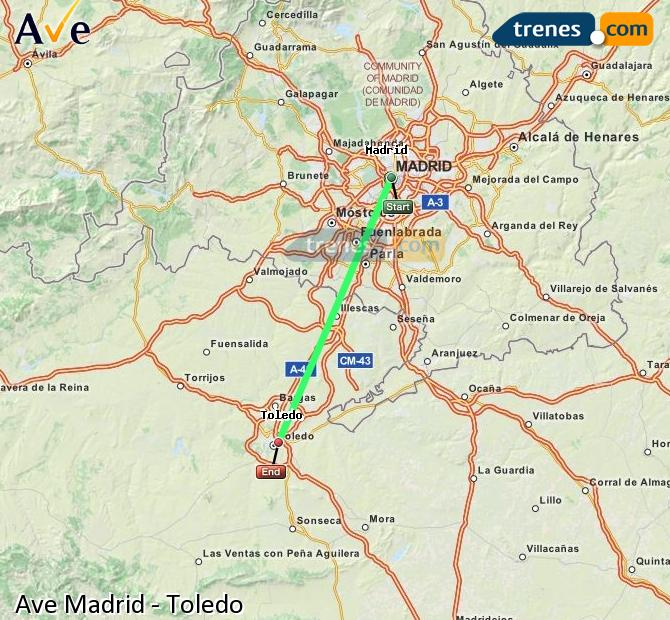 Agrandir la carte AVE Madrid Toledo