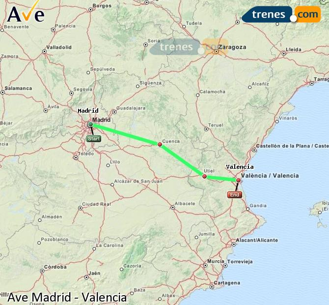 Enlarge map AVE Madrid to Valencia