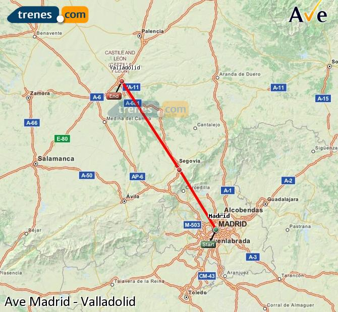 Ingrandisci la mappa AVE Madrid Valladolid