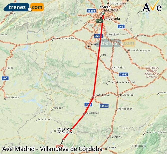 Enlarge map AVE Madrid to Villanueva de Córdoba