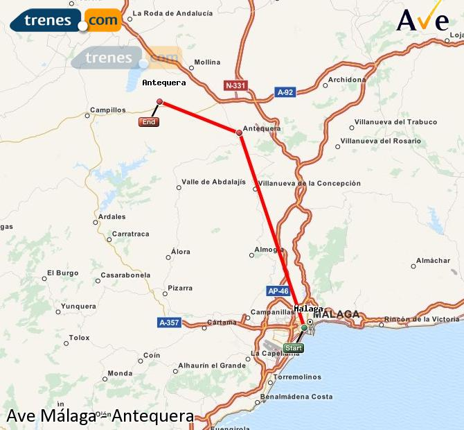 Enlarge map AVE Malaga to Antequera
