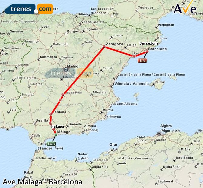 Enlarge map AVE Malaga to Barcelona