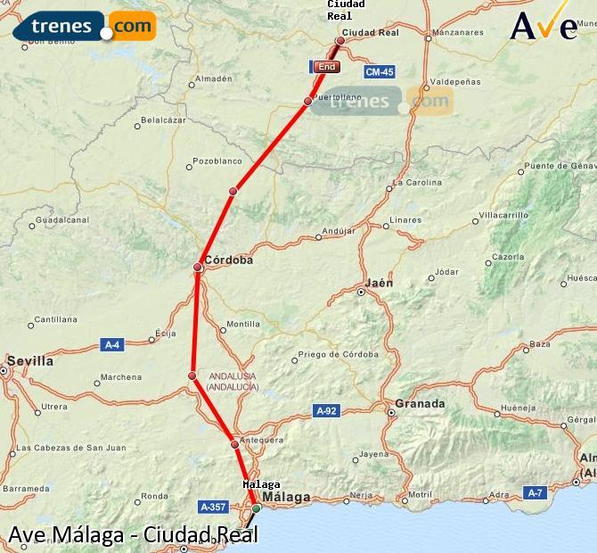 Agrandir la carte AVE Málaga Ciudad Real