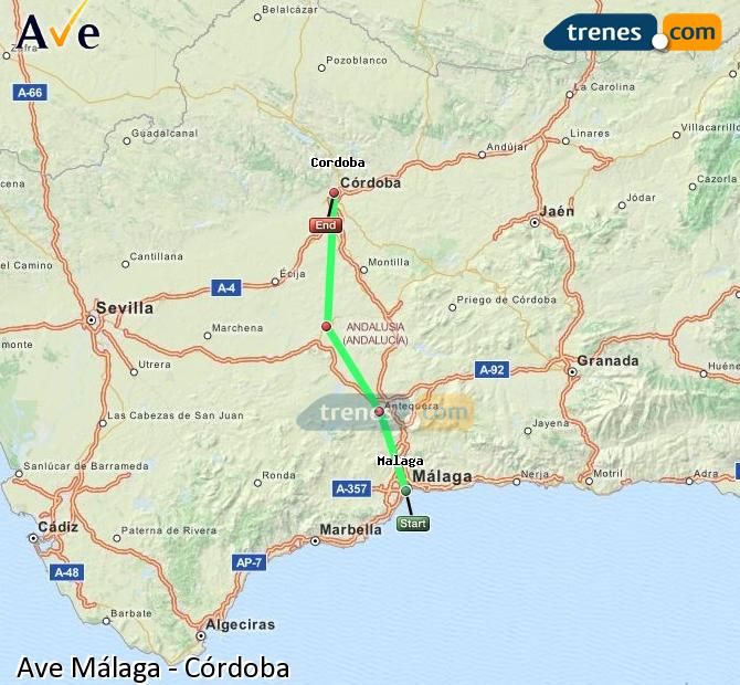 Enlarge map AVE Malaga to Córdoba