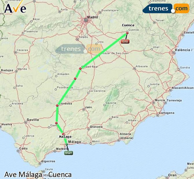 Agrandir la carte AVE Málaga Cuenca