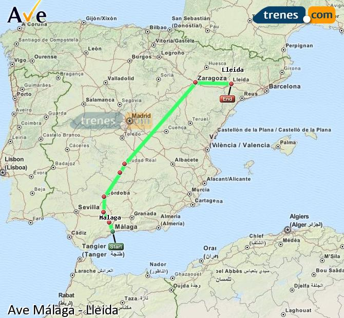 Enlarge map AVE Malaga to Lleida