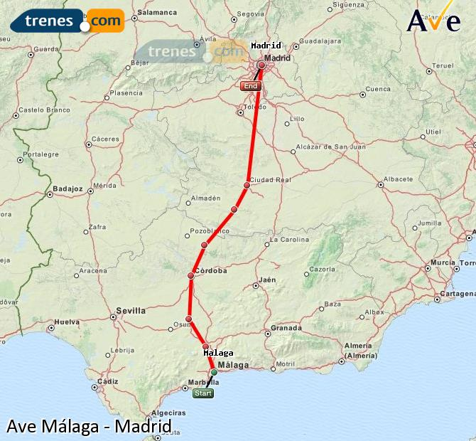Enlarge map AVE Malaga to Madrid