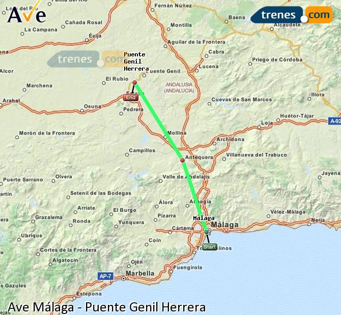 Enlarge map AVE Malaga to Bridge Genil Herrera
