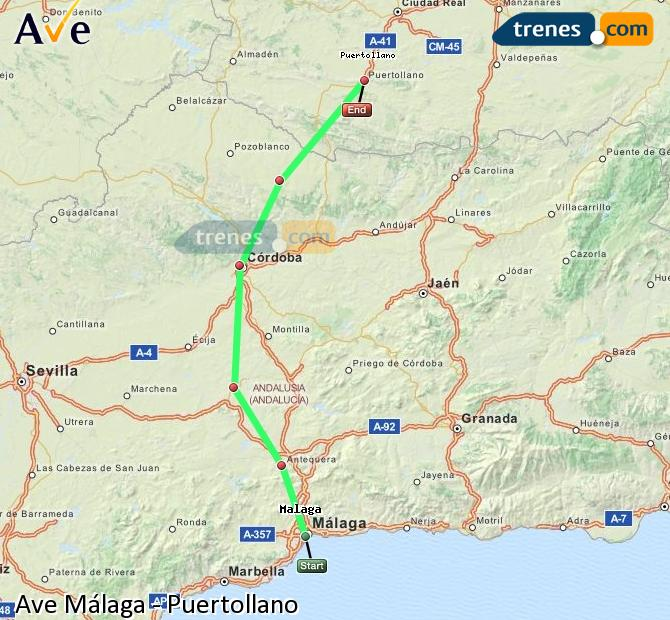 Enlarge map AVE Malaga to Puertollano
