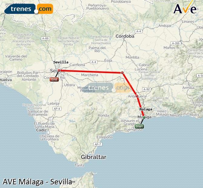 Ampliar mapa AVE Málaga Sevilla