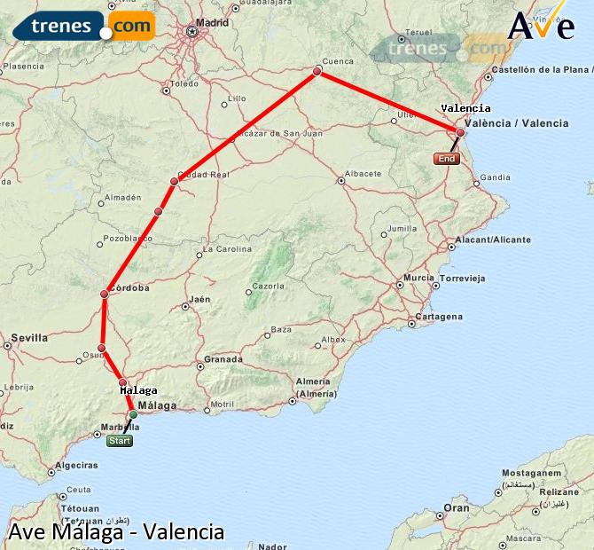 Enlarge map AVE Malaga to Valencia