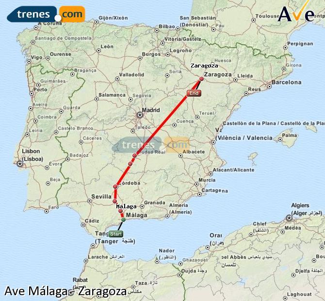 Ampliar mapa AVE Málaga Zaragoza