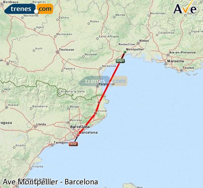 Ingrandisci la mappa AVE Montpellier Barcellona